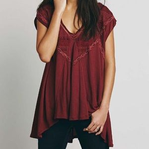 FREE PEOPLE Abigail Embroidered Lace Red Tunic